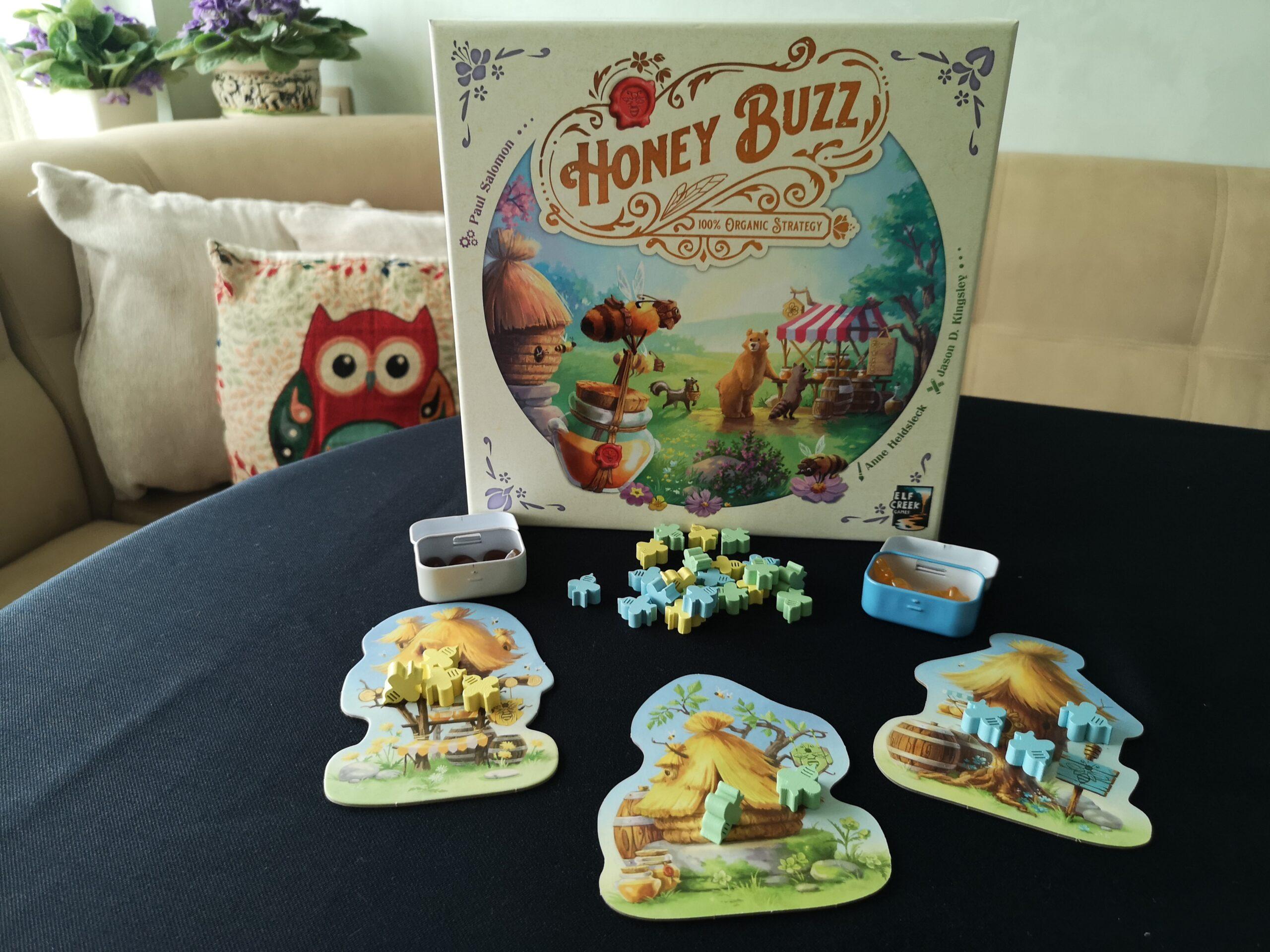 Компоненти и обложка на настолната игра Honey Buzz